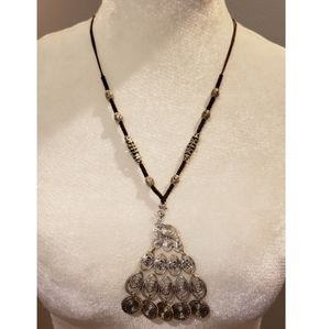 Silver Peacock Corded Necklace